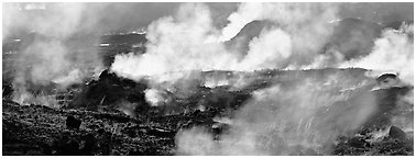 Fumeroles. Hawaii Volcanoes National Park (Panoramic black and white)