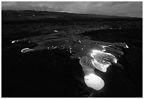 Kilauea lava flow at dawn. Hawaii Volcanoes National Park, Hawaii, USA. (black and white)
