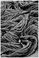 Braids of flowing pahoehoe lava. Hawaii Volcanoes National Park ( black and white)