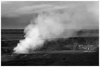 Sulfur dioxide plume shooting from vent, Halemaumau crater. Hawaii Volcanoes National Park ( black and white)