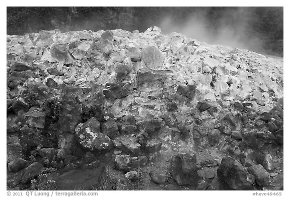 Mound of rocks covered with sulphur from vent. Hawaii Volcanoes National Park (black and white)