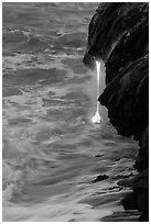 Lava spigot at dawn. Hawaii Volcanoes National Park ( black and white)