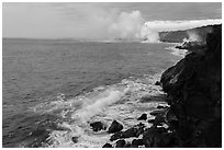 Coastline with lava ocean entries, morning. Hawaii Volcanoes National Park, Hawaii, USA. (black and white)