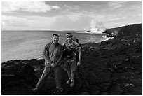 QT Luong and Bryan Lowry at near ocean entry. Hawaii Volcanoes National Park, Hawaii, USA. (black and white)
