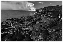 Molten lava flow at the coast. Hawaii Volcanoes National Park, Hawaii, USA. (black and white)