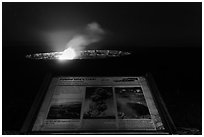 Interpretive sign, Halemaumau crater. Hawaii Volcanoes National Park ( black and white)