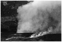Fumeroles and plume from Halemaumau lava lake. Hawaii Volcanoes National Park, Hawaii, USA. (black and white)
