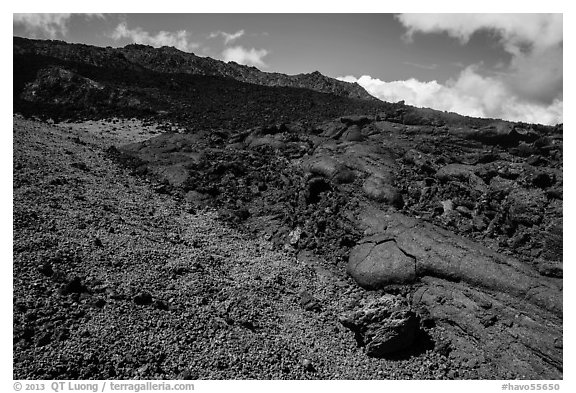 Olivine crystals, red lava rock, and lava fields, Mauna Loa. Hawaii Volcanoes National Park (black and white)