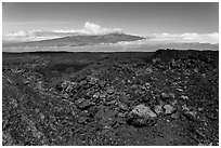 Vein of red and orange lava on Mauna Loa, Mauna Kea in background. Hawaii Volcanoes National Park ( black and white)