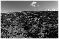 Blocks of aa lava and olivine sand, North Pit, Mauna Loa. Hawaii Volcanoes National Park ( black and white)