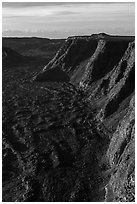 Tall cliffs seen from Mauna Loa summit. Hawaii Volcanoes National Park, Hawaii, USA. (black and white)