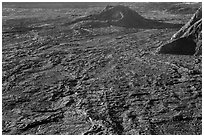 Hershey Kiss and  Mokuaweoweo crater floor. Hawaii Volcanoes National Park ( black and white)
