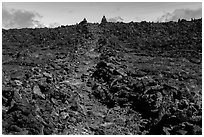 Well marked portion of Mauna Loa summit trail. Hawaii Volcanoes National Park, Hawaii, USA. (black and white)