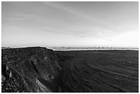 Mauna Loa summit cliffs, Mokuaweoweo crater before sunrise. Hawaii Volcanoes National Park ( black and white)