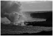 Coastline with ocean entry from delta. Hawaii Volcanoes National Park ( black and white)
