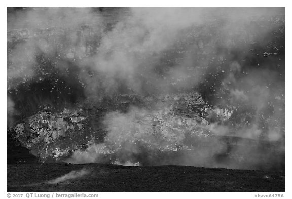 Lava fountains from lava lake in Halemaumau crater. Hawaii Volcanoes National Park (black and white)