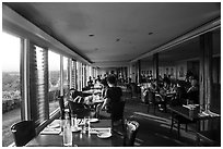 Dining room, Volcano House. Hawaii Volcanoes National Park ( black and white)