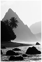 Sunuitao Peak from the South Beach, early morning, Ofu Island. National Park of American Samoa (black and white)