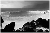 Boulders, crashing waves, and wild coastline, Siu Point, Tau Island. National Park of American Samoa (black and white)