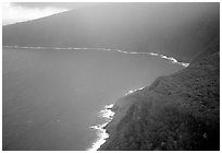 Aerial view of the wild South coast of Tau Island. National Park of American Samoa (black and white)