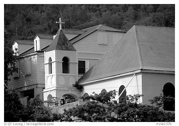 Moravian church, Coral Bay. Saint John, US Virgin Islands (black and white)