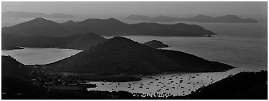Coral Bay and harbor seen from above. Virgin Islands National Park (Panoramic black and white)