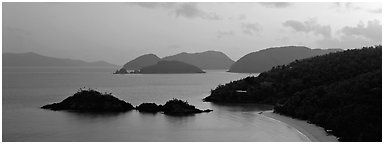 Trunk Bay at sunrise. Virgin Islands National Park (Panoramic black and white)