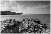 Rocky headlead, Yawzi Point. Virgin Islands National Park ( black and white)
