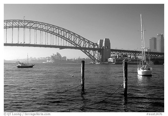 View across Harboor and Harboor bridge, morning. Sydney, New South Wales, Australia
