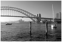 View across Harboor and Harboor bridge, morning. Sydney, New South Wales, Australia (black and white)