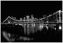Brisbane by night. Brisbane, Queensland, Australia (black and white)