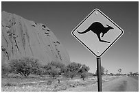 Kangaroo crossing sign near Ayers Rock. Australia (black and white)