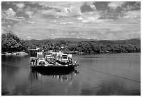 Daintree River ferry crossing. Queensland, Australia (black and white)