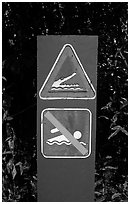 Sign warning of crocodiles. Australia ( black and white)