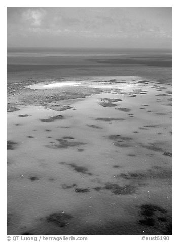 Turquoise waters. The Great Barrier Reef, Queensland, Australia (black and white)