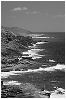 Coastline and highway, South-East. Oahu island, Hawaii, USA (black and white)