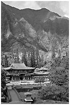 Byodo-In temple and Koolau Mountains, Valley of the Temples, morning. Oahu island, Hawaii, USA ( black and white)