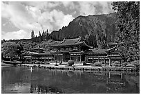 Byodo-In temple and Koolau Mountains, morning. Oahu island, Hawaii, USA ( black and white)