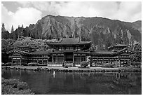 Byodo-In temple and fluted mountains, morning. Oahu island, Hawaii, USA ( black and white)