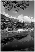 Byodo-In temple reflected in pond, Valley of the Temples, morning. Oahu island, Hawaii, USA ( black and white)
