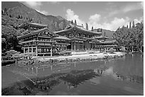 Byodo-In temple reflected in pond, morning. Oahu island, Hawaii, USA ( black and white)