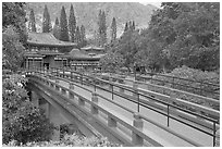 Red bridge leading to Byodo-In Temple. Oahu island, Hawaii, USA ( black and white)