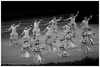 Hawaiian dancers on stage. Polynesian Cultural Center, Oahu island, Hawaii, USA (black and white)