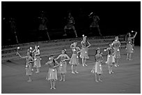 Dance Performance by Maori women. Polynesian Cultural Center, Oahu island, Hawaii, USA (black and white)