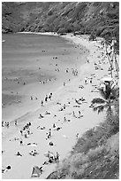 Hanauma Bay beach from above. Oahu island, Hawaii, USA (black and white)