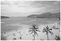 Hanauma Bay and beach. Oahu island, Hawaii, USA (black and white)