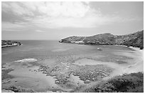 Hanauma Bay with no people. Oahu island, Hawaii, USA (black and white)