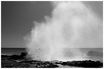 Stream of water shooting up from Spouting Horn. Kauai island, Hawaii, USA (black and white)