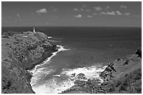 Kilauea Lighthouse and cove. Kauai island, Hawaii, USA ( black and white)