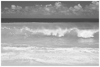 Breaking wave and turquoise waters, Haena Beach Park. North shore, Kauai island, Hawaii, USA ( black and white)
